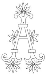 Monogram for Hand Embroidery: A with Fan Flowers