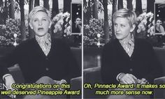 Ellen Degeneres congratulating Taylor on her CMA Pinnacle Award