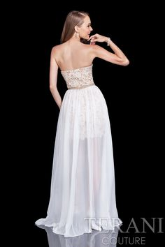 Strapless+lace+prom+gown.+This+prom+dress+comes+with+a+detachable+chiffon+skirt.