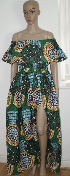 ankara dress, off the shoulder dress, african print dress, dress, gown by MADKollection on Etsy