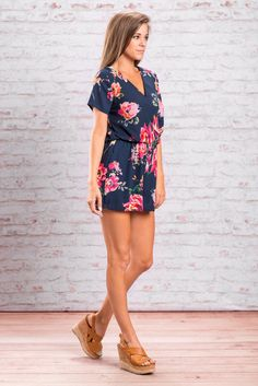 This fully lined romper is too chic! The colors are rich and beautiful and the shape is so flattering! It has and elastic waist and a wrap inspired top. All of which are classically flattering features! The top does have a hidden button on the inside to keep it together or you can leave it open with a bandeau if you need more room.