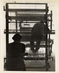 Two weavers with rug loom, ca. 1940. Photographer: John Stix. Black Mountain College