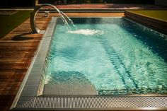 Stainless steel pool with overflow trough around entire perimeter Tub, Swimming Pools, Stainless Steel, Outdoor Decor, Home Decor, Swiming Pool, Swim, Homemade Home Decor, Bath Tub