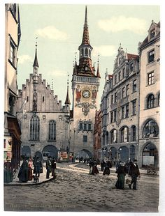 München Rathaus - Old Town seen from Marienplatz, between 1890 and 1905