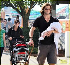 """Jared Padalecki and his wife Genevieve Cortese with their baby boy Thomas  on Sunday (July 29/2012) in Vancouver, Canada. """""""