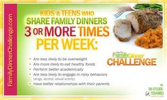Family dinners are important for children's well being. See this poster! Try the challenge!