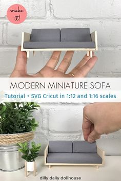 Modern Miniature Sofa – Tutorial - Diy furniture for kids Modern Dollhouse Furniture, Diy Barbie Furniture, Miniature Furniture, Furniture Legs, Garden Furniture, Cardboard Furniture, Barbie Furniture Tutorial, Furniture Design, Cardboard Boxes
