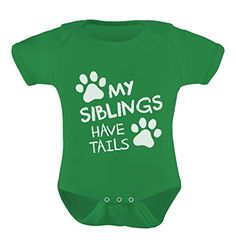 TeeStars  My Siblings Have Tails Funny Onepiece Infant Bodysuit Baby Onesie 6M Green