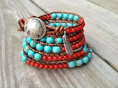 Southwestern Turquoise and Coral Beaded Leather by DESIGNbyANCE, $69.00