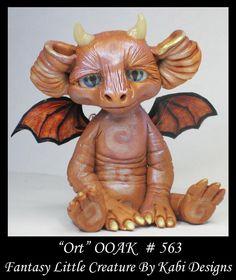 Fantasy Little Dragon DollHouse Art Doll Polymer Clay CDHM OOAK IADR Ort  Mini #KabiDesigns
