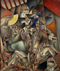 Jean Metzinger, 1912-1913, L'Oiseau bleu, (The Blue Bird), oil on canvas, 230 x 196 cm, Musée d'Art Moderne de la Ville de Paris