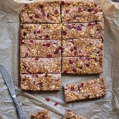 10 Gluten-Free Breakfast Recipes - Cherry Quinoa Granola Bars - 10 Gluten-Free Breakfast Recipes - Men's Fitness Like for Quinoa Granola Bars, Chewy Granola Bars, Gluten Free Recipes For Breakfast, Gluten Free Breakfasts, Healthy Breakfasts, Protein Bar Recipes, Protein Snacks, Homemade Protein Bars, Protein Cake