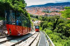 Cunning funicular railway saves rails and digging Graz Austria, Reference Images, Electric Scooter, City Life, Transportation, Tourism, Europe, Train, Explore