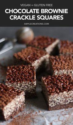 Chocolate Brownie Crackle Squares #vegan #glutenfree #recipe