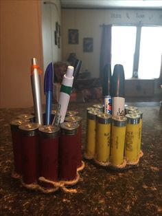 Pen holders I made for Chris' desk Ammo Crafts, Hunting Crafts, Fun Crafts, Diy And Crafts, Shotgun Shell Art, Shotgun Shell Crafts, Shotgun Shells, Bullet Casing Crafts, Bullet Crafts