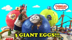 3 GIANT SURPRISE EGGS Thomas and Friends Surprise Toys opening Turbo Fli...