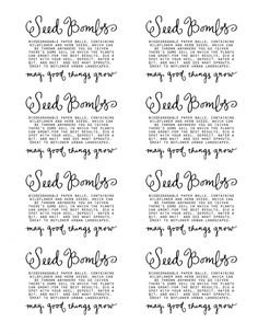 seed bomb labels Earth Day Activities, Nature Activities, Seed Paper, Garden Club, Garden Crafts, Garden Ideas, Homemade Gifts, Diy Gifts, Craft Fairs