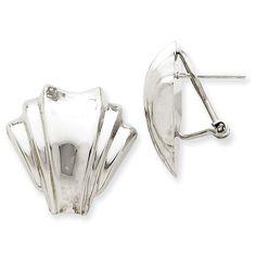 14k White Gold Polished Fancy Omega Back Post Earrings TM352