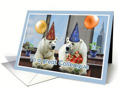 happy birthday to a great colleague, polar bears with balloons card