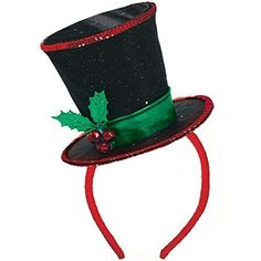 Our Fashion Diva Christmas Headband features a mini top hat with a shimmery star print. This Christmas top hat headband has tiny jingle bells and faux holly. Christmas Party Hats, Christmas Tops, Christmas Minis, Christmas Costumes, Christmas Snowman, Christmas Headbands, Snowman Hat, Snowman Costume, Christmas Clearance