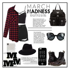 """Grunge"" by gryffinclaw-salma ❤ liked on Polyvore featuring Topshop, Charlotte Russe, LE3NO, Dr. Martens, Prada, Fendi, La Femme, Maison Margiela, Maison Michel and plus size clothing"