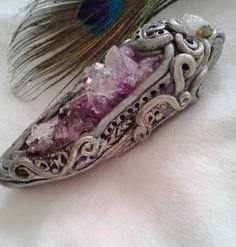 Medieval Amethyst Druzy Warrior Amulet, Gemstone Pendant, polymer clay and crystal jewelry, OOAK, Fantasy pendant, unisex pendant, talisman by HeartofStonePendants on Etsy https://www.etsy.com/listing/218191362/medieval-amethyst-druzy-warrior-amulet