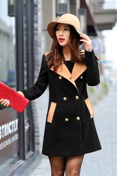 Double Breasted Long Black Wool Coat on Luulla