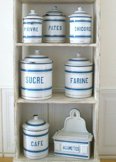 Vintage French Enamelware Kitchen Canisters