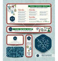 Christmas party restaurant menu set design template vector  by kraphix on VectorStock®
