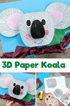 3D Koala Craft for Kids: Celebrate Australia Day with this adorable paper craft for kids - Children can play with paints to create the koalas fur; scrunch and twist tissue paper to make branches and leaves; and use 3D elements to explore depth, perspective and bounce. 3d Paper Crafts, Paper Crafts For Kids, Crafts For Kids To Make, Easy Art Projects, Projects For Kids, Koala Craft, Easy Arts And Crafts, Crafty Kids, Koalas