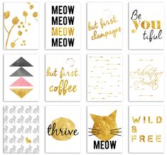 Free Set of 12 Gold Foil Journal Cards