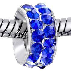 Pugster Round Sapphire Rhinestone Crystal Pandora Blue Beads Fit Pandora Charm Bracelet $0.49 #topseller