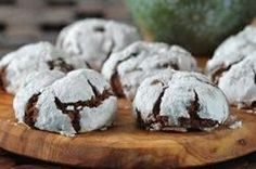 Chocolate Crinkle Cookies - Two recipes, the one at this link and the one I use (the easier one): 1 box devil's food cake mix or other chocolate cake mix, 2 eggs, 1 tsp vanilla, 1/2 cup oil, 1/2 powdered, granulated, or decorative sugar. Mix all ingredients except the sugar until soft batter forms. Roll into balls and coat with sugar. Bake 10-12 minutes at 350. Easy and delicious!
