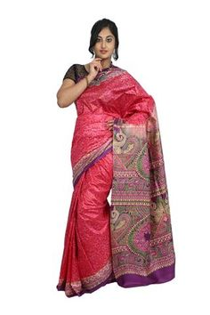 Bright Pink Khadi Printed Silk Saree