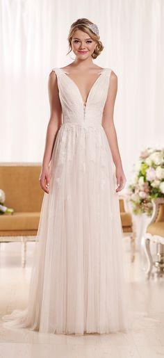 plunging v neckline vintage lace wedding dresses 2016 trends essense of australia