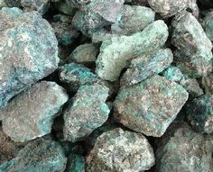 Raw turquoise from mines in the Southwest, USA.