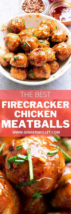 Spicy Chicken Meatballs aka Firecracker meatballs recipe with step-by-step instructions. These spicy and sweet twice-baked chicken meatballs are super easy to make and tastes delicious as an appetizer or in a meal! Firecracker Meatballs, Firecracker Chicken, Baked Chicken Meatballs, Chicken Meatball Recipes, High Protein Recipes, Healthy Recipes, Appetizer Recipes, Dinner Recipes, Side Dish Recipes