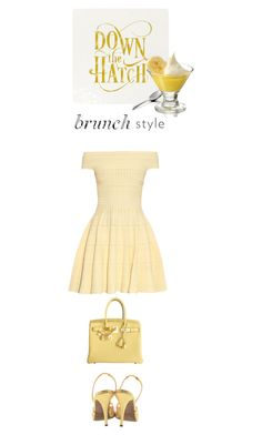 """Brunch"" by terry-tlc ❤ liked on Polyvore featuring Walter Steiger, Hermès, Alexander McQueen, Bell'Invito and Libbey"