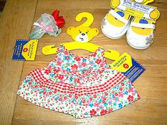 Build A Bear girl clothes flower dress + Valentine flowers + shoes outfit