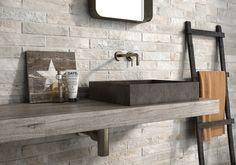 🔹 BRICK EFFECT🔹 The charm of #brick with the durability of #ceramic #tiles ➽ Tribeca #Geotiles #tiles #carrelage #architecture#architecturelovers #baldosas #homedecor#interiores #design #instadesign #decor #cerámica #arquitectura #tileslover#instahome #home #flooring #decoracion#azulejos #baldosas #ihavethisthingwithtiles#ihavethisthingwithfloors #interiors #tegel #arquitetura #ladrillos Brick Effect Tiles, Ottomans, Stove, Kitchen Ideas, Shelves, Interiors, Flooring, Architecture, House