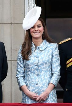Catherine, Duchess of Cambridge stands on the balcony of Buckingham Palace following the Trooping The Colour ceremony on June 13, 2015 in London, England.
