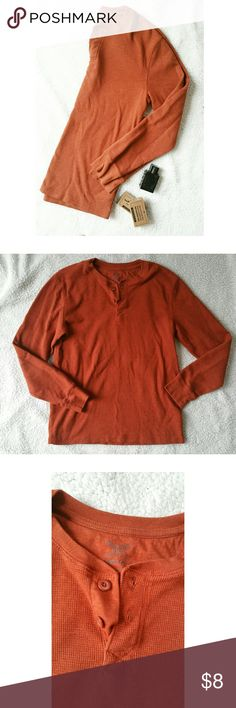 {Faded Glory} orange thermal long sleeve Faded glory Orange long sleeve  Buttons on the front Size medium The last picture shows the actual color the best Faded Glory Shirts Tees - Long Sleeve