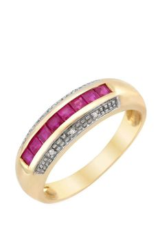 0.50 CTW Ruby Gold Channel Ring | Brandsfever