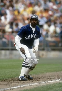 Ron LeFlore #8 of the Chicago White Sox leads off of third against the Oakland…