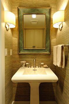 1/2 bath accent wall: rattan wallpaper bathroom lights