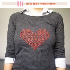 Über Chic for Cheap: DIY Cross Stitch Heart Sweater