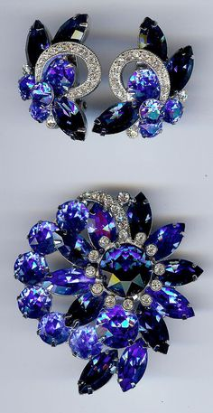 EISENBERG ICE VINTAGE 1940's BLUE & CLEAR RHINESTONE PIN & CLIP ON EARRINGS SET