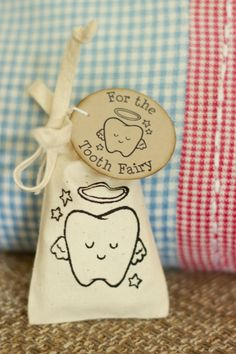 Adorable screen printed tooth fairy bag by kindy garden. Great for kids to pop their lost teeth in and for the tooth fairy to leave a little something in return!