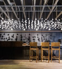 Two hundred and seventy six teacups are suspended from the ceiling of this coffee shop in Bucharest by Romanian studio Lama Architectura (+ slideshow). Origo, by Lama Architectura, is a coffee shop by day and a cocktail bar by night. Café Design, Design Blog, Design Ideas, House Design, Cafe Bar, Commercial Design, Commercial Interiors, Restaurant Design, Restaurant Bar