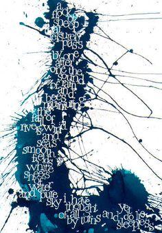 "Contemporary Calligraphy by Kirsten Burke - Poem: ""Lie Sleepless""  by William Wordsworth"